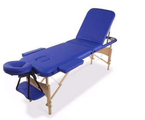 camilla masajes plegable portátil madera 3 cuerp azul (225)