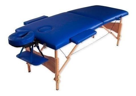 camilla masajes plegable portátil madera azul (211) c & s