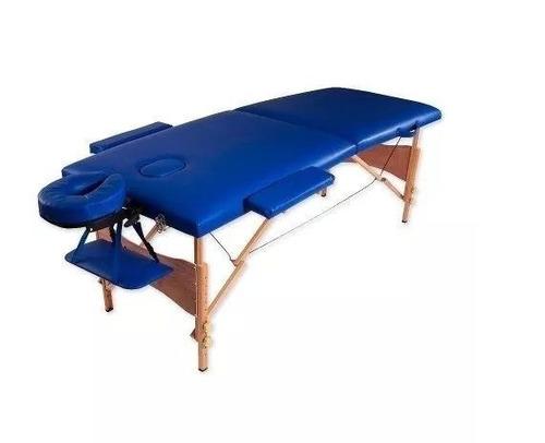camilla masajes plegable portátil madera azul