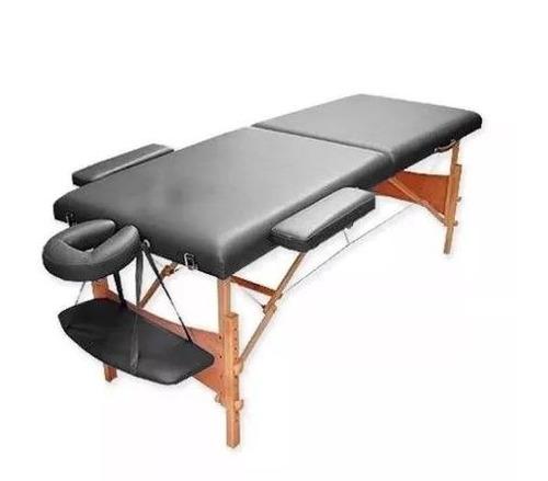 camilla masajes plegable portátil madera negro (212)
