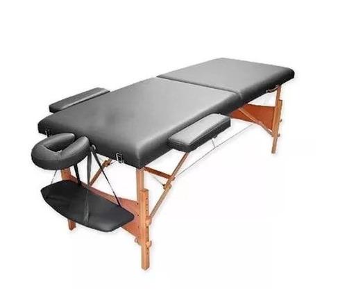 camilla masajes plegable portátil madera negro / c & s