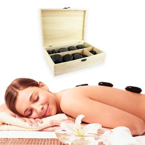 camilla masajes portatil + 36 piedras calientes de basalto