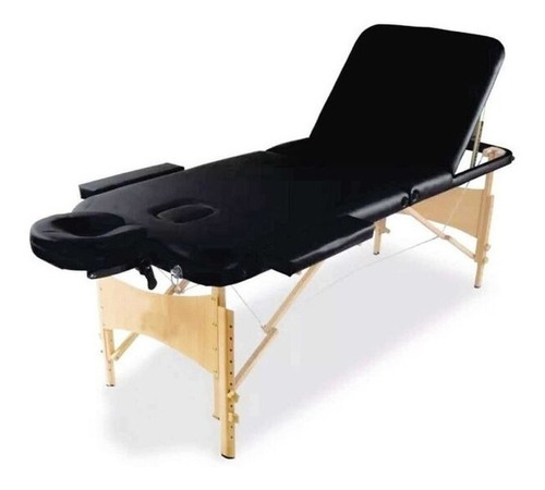 camilla para masajes 3 cuerpos color negro con maleta