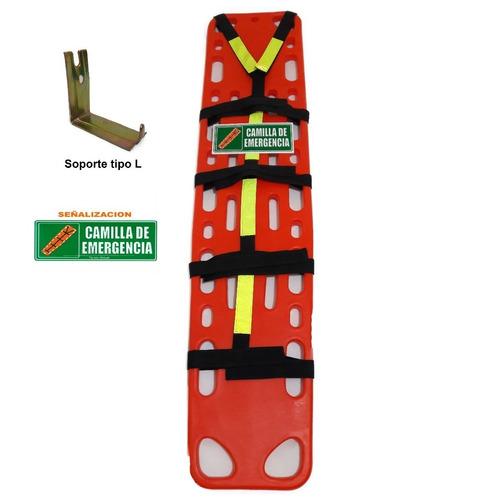 camilla plastica emergencia tipo miro con arnes y aviso