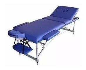 camilla plegable portátil aluminio 3 cuerpos azul c & s