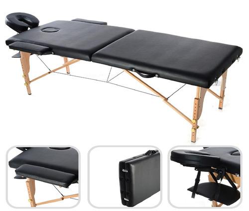 camilla spa masaje profesional portátil negra 2 cuerpos