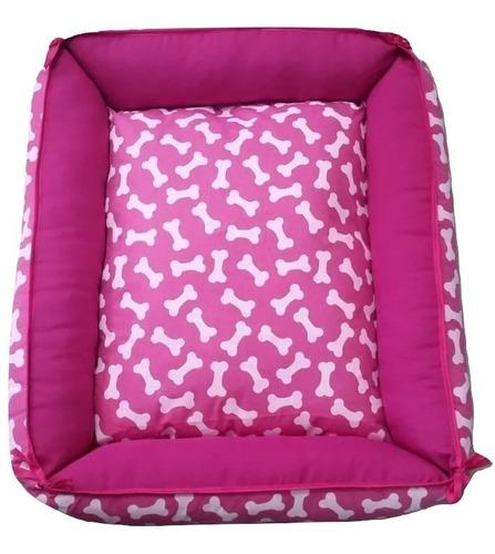 caminha cama sofá de fibra cor rosa pet cachorro caes gatos porte / tamanho g .