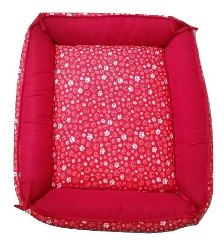 caminha cama sofá de fibra cor vermelha pet cachorro caes gatos porte / tamanho m .