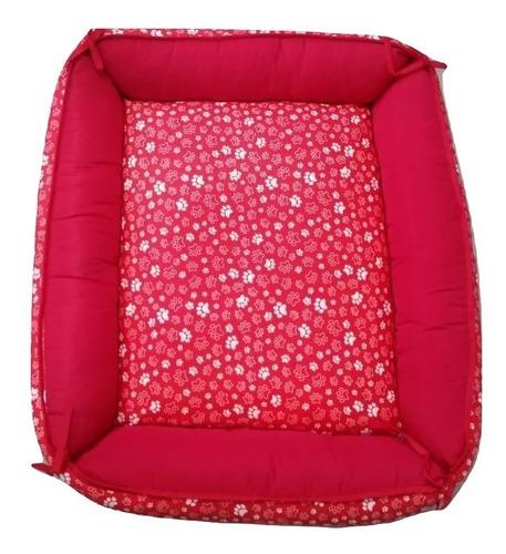 caminha cama sofá  de fibra cor vermelha pet cachorro caes gatos porte / tamanho p .
