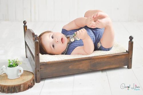 caminha madeira envelhecida prop newborn acompanhamento bebê