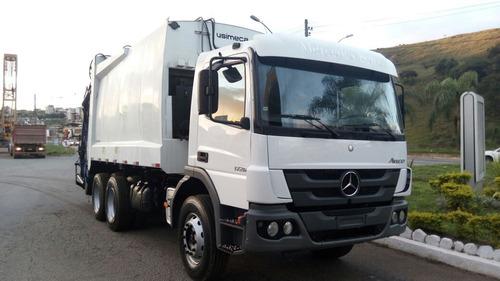 caminhao atego 1726 2014 compactador de lixo truck 100 mil k