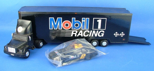 caminhao da mobil - toy race car carrier - eletronico - 1994