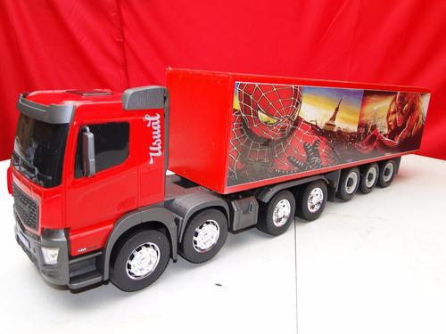 caminhão bitruck bitrem brinquedo homem aranha carreta bau