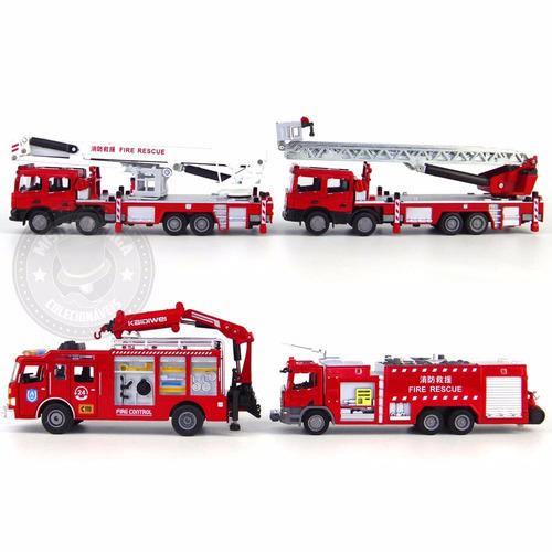 caminhão corpo de bombeiros kit c/4 modelos metal kdw 1/50