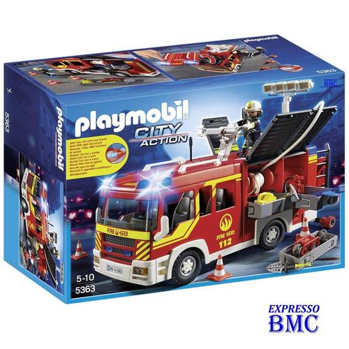 caminhão de bombeiro com equipamento 118 pçs playmobil 5363