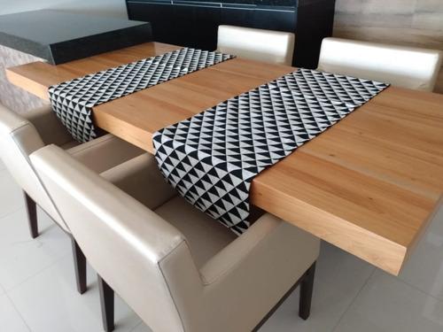 caminho de mesa 1,60 x 45 triângulo preto/branco - 1 unidade