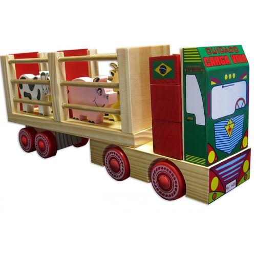 caminhão fazendinha brinquedo bebê brinquedo madeira