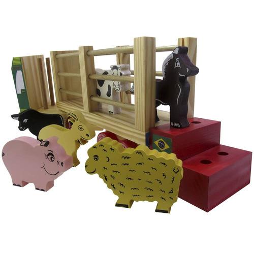 caminhão fazendinha-brinquedo educativo madeira-carimbras