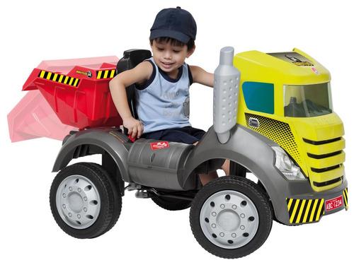 caminhão pedal truck infantil menino caçamba reclinável