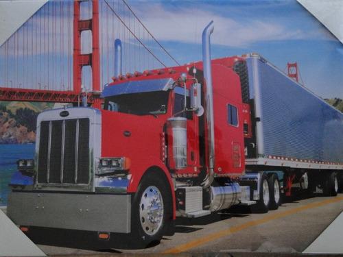 caminhão peterbilt carreta furgão quadro tela 50 x 35 cm