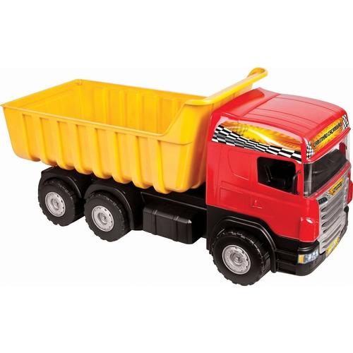 caminhão super caçamba vermelho + escavadeira giant