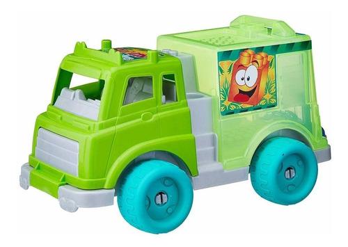 caminhão verde smoby com blocos de encaixar gulliver