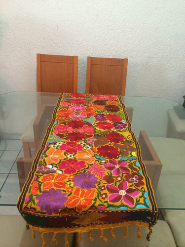 camino de mesa artesanal oaxaqueño camino bordado colorido