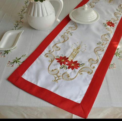 camino tapete centro de mesa navideño