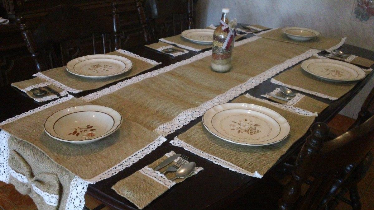 Caminos de mesa 6 individuales 6 porta cubiertos de - Manteles y caminos de mesa ...