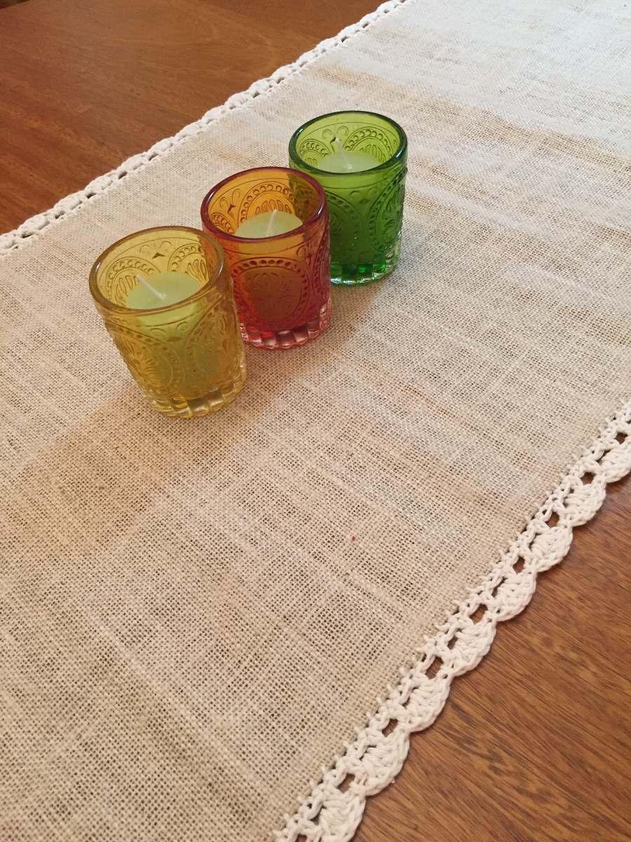caminos para mesas arpillera y crochet - Caminos De Mesa