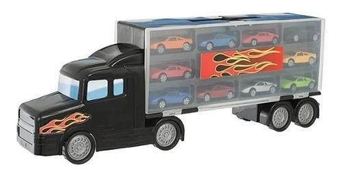 camion 50 cm  transportador c/ 8 autos metal teamsterz 14072