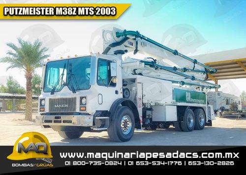 camion bomba concreto mack - putzmeister 2003 m38z mts