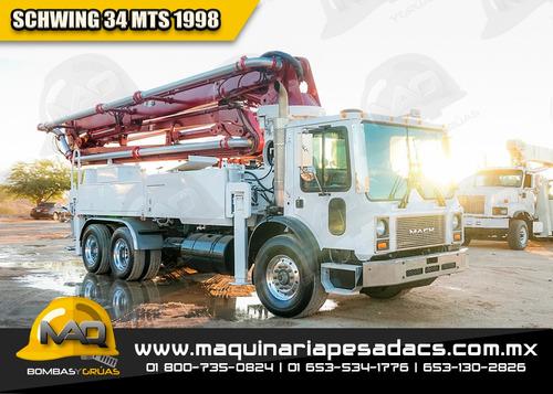 camion bomba de concreto 34 mts 1998 mack / schwing