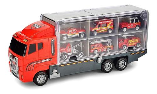 camión bomberos luces bocina incluye 6 coches rampa full