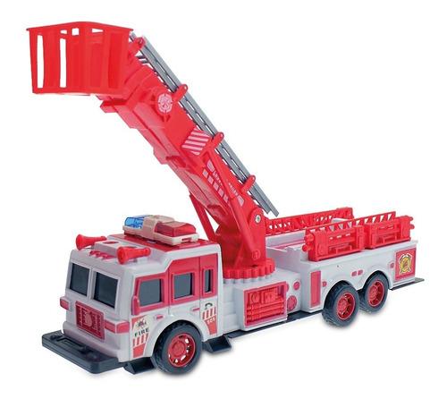 camión de bomberos a fricción 30 cm con escalera movible
