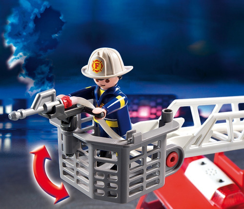 camion de bomberos city action  playmobil - luces