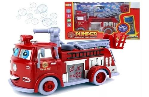 camion de bomberos lanza burbujas a pilas juguete navidad