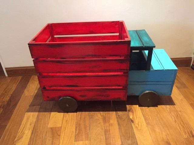 Camión De Madera Para Guardar Juguetes Para Pintar,juguetero - $ 770 ...