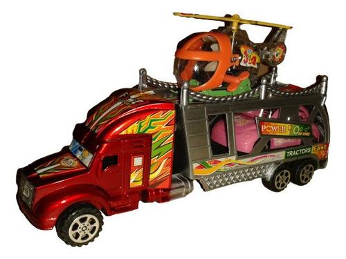 camion gandola juguete con carro y helicoptero