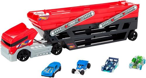 camión hot wheels mega hauler original + 4 carros niñera