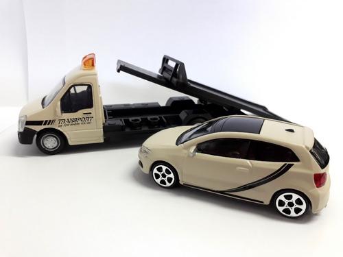 camión iveco y auto vw polo gti burago flatbed escala 1/43