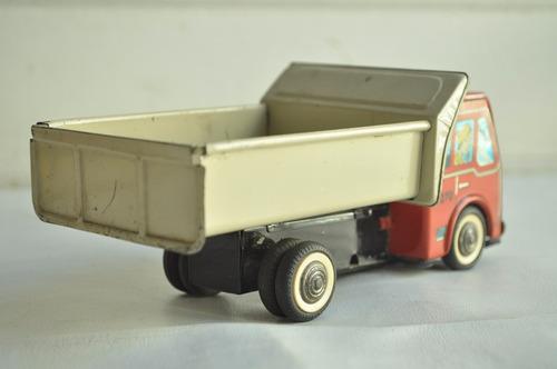 camion volcador rojo caja gorgo lata juguete antiguo