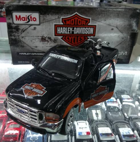 camioneta ford 350 motocicleta a escala 1:24 harley davidson