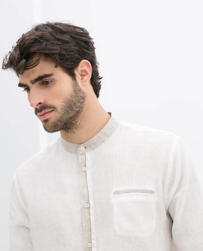 camisa 100%  algodón aplicaciones lino modelo g005