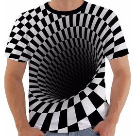 Camisa 1092 Efeito 3 D Psicodélica Modelo 04 Ilusão De Ótica