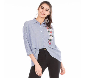 nuevo producto 81298 f2f74 Camisa A Rayas Bordada Mujer Todos Los Talles