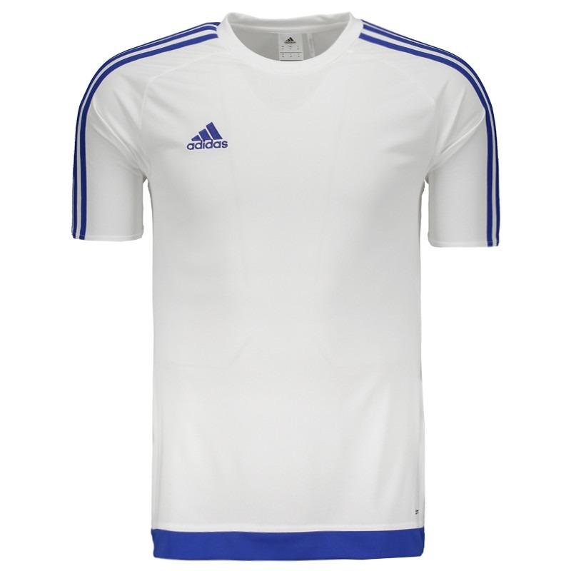 1bdf1d4bb9 Camisa adidas Estro 15 Branca E Azul - R$ 74,90 em Mercado Livre