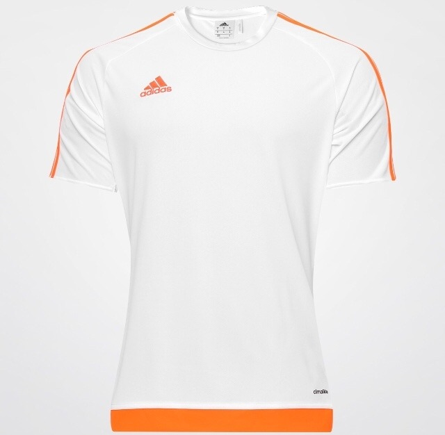 c044c8b0ef1a7 Camisa adidas Estro 15 Masculina - Branco E Laranja Jogo - R  114