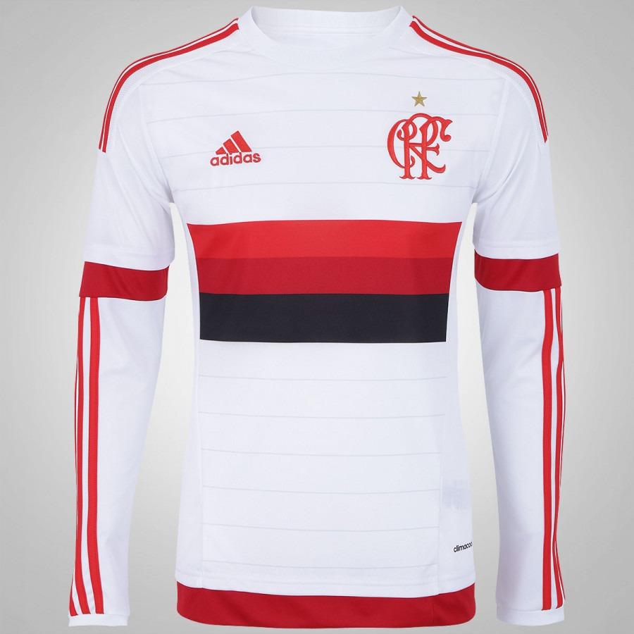 d3a1e3218021d Camisa adidas Flamengo Ii Manga Longa Branca 2015 - R$ 169,90 em ...
