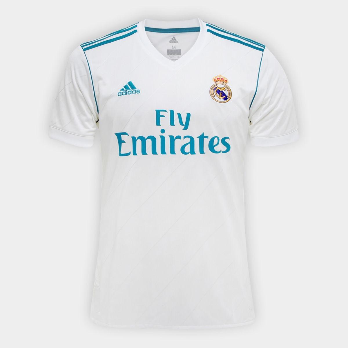 812d060206a7b camisa adidas real madrid home 2018 - branco e azul turquesa. Carregando  zoom.